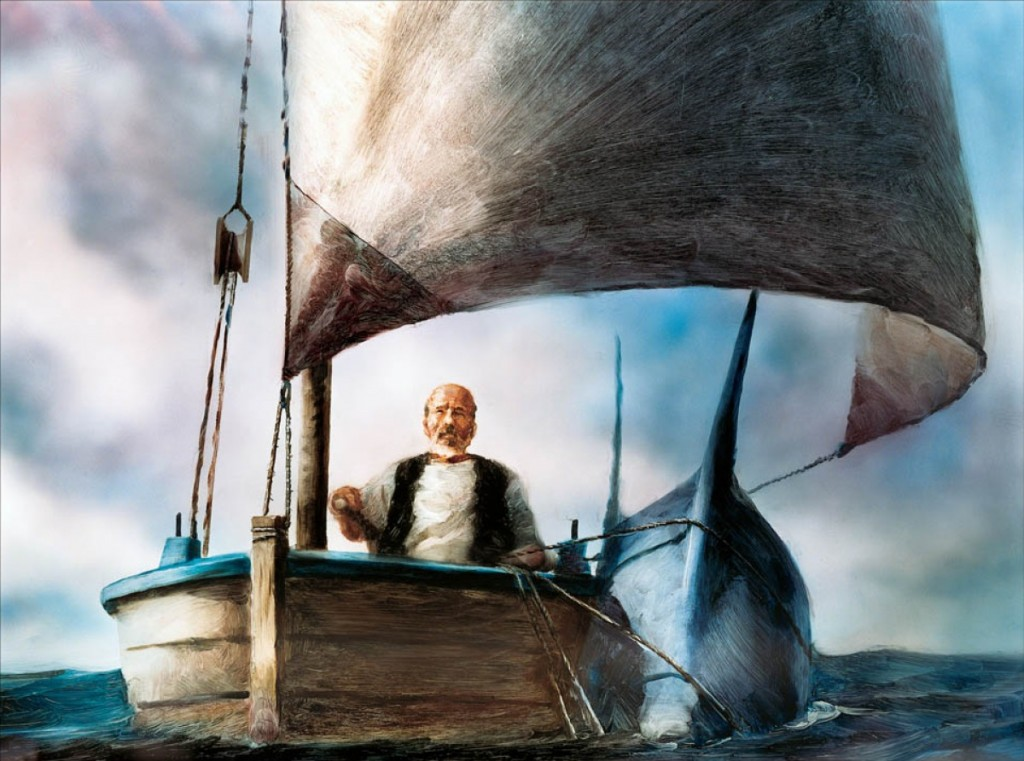 old man and sea 4 Eighty four long days did he spend alone in the lap of the vast sea without catching a fish, the poor santiago, old and weak he grew now ensued a great battle, the old man fought hard to catch his prized catch, the marlin stabbed and strapped, not rescued the carcass that devoured the hungry.